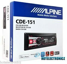 Alpine CDE-151 In Dash Receiver Car Stereo Single Din/ CD/MP3/AAC/WMA/USB/AUX