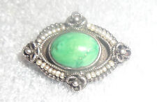 old sterling silver green turquoise seed pearl pin