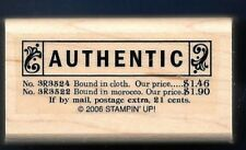 VINTAGE AUTHENTIC BUSINESS Antique words Stampin Up Authenticity RUBBER STAMP