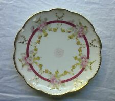 Antique Limoges Plate Handpainted Roses Heavy Gold France 1900-1910