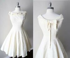 Vintage 50s Full Circle Swing Off Shoulder Bow Cocktail Tea Party Pin Up Dress M