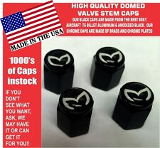 4 Billet Aluminum Mazda Evil M Mazdaspeed 3 5 6 Valve Stem Air Caps Black/ White