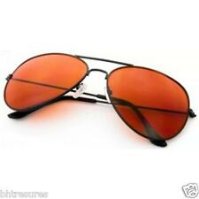 US SELLER Sunglasses Blue Blocker Aviator  New Black Frames Amber Lenses