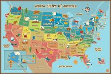 Wall Pops  WPE0623 Kids USA Dry Erase Map Decal Wall Decals , New, Free Shipping