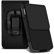 Veritcal Carbon Fibre Belt Pouch Holster Case For Samsung Galaxy Beam 2