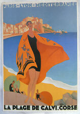 CPM REPRODUCTION AFFICHE ANCIENNE / PLAGE DE CALVI / ROGER BRODERS