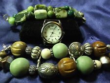 Gossip Woman's Watch with 2 Bands **Stone & Wood Beads** ME 031