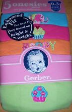 Gerber 5pk Short Sleeve Girl's Solid Onesies, Baby Shower, 0-3 Months