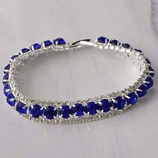 Tennis Bracelet Blue Stone 5X5mm For Womens Silver Plated Fashion Jewelry
