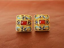 VINTAGE CHINESE STERLING VERMEIL ENAMEL CARNELIAN POST VALENTINE EARRINGS