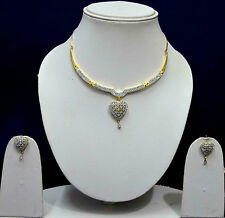 American Diamond Jewellery Sets Gold Heart Design Bridal Necklace Earring Set 34