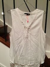 TALLY WEIJL LADIES WHITE TOP SLEEVE LESS SIZE MEDIUM BRAND NEW WITH TAGS