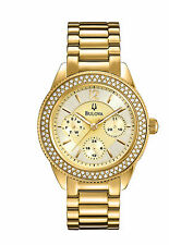 Bulova Women's 97N102 Chronograph Crystal Encrusted Dial Gold Tone Watch