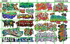 NH109 1/2 Set N SCALE MODERN GRAFFITI URBAN TAGGING for TRAINS BUILDING MORE