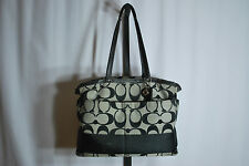 Coach Signature Black Canvas Diaper Bag Tote