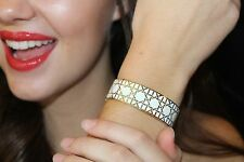 """NWOT Kate Spade""""Shoot the Breeze"""" Idiom Bracelet Bangle In Gold/White Caning"""