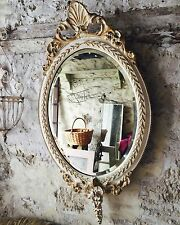 Antique French Oval Double Crested Mirror - Original Bevelled Glass