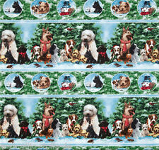 Holiday Pups Bordüre Patchwork Stoffe Weihnachtsstoff Hunde Patchworkstoff Tiere