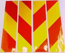 "Reflective sticky vinyl hazard chevrons Y 4x 12"" x 2"" signs, vehicles,trailers"