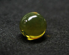 30MM ROUND DOMINICAN GREEN AMBER BEAD VVS/Gem