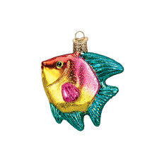 Yellow Tropical Angel Fish Old World Christmas Ornament NWT mouth blown glass
