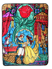 Disney Beauty & the Beast Plush Fleece Belle & Rose Stained Glass Throw Blanket
