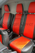 TO FIT A FORD TRANSIT CUSTOM VAN,2015, SEAT COVERS- SPORT, POPPY RED LEATHERETTE