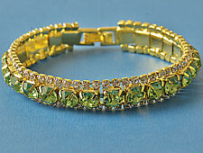 Around Green Cubic Zirconia 9k Yellow Gold Filled Womens Bracelet F6073