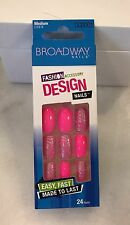Broadway Nails Bright Pink With Silver Glitter Medium Glue Not Included