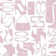 Shoes & Purses in Dusty Rose on Soft White Satin Sure Strip Wallpaper WH2619