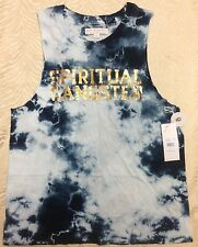 NWOT Spiritual Gangster Womens Varsity Tank Top Sz *X-Small only tie day blue