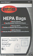 6 pk RICCAR HEPA Type Z Vacuum Bags for Moonlight, Simplicity, Jack&Jill.. 852