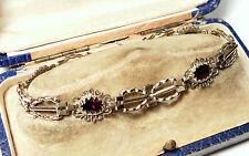 Antique Solid 9ct Gold Natural Garnet Vintage Gate Design Bracelet