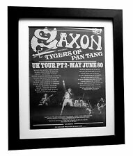 SAXON+Wheels Of Steel+TOUR+POSTER+AD+RARE ORIGINAL 1980+FRAMED+FAST GLOBAL SHIP