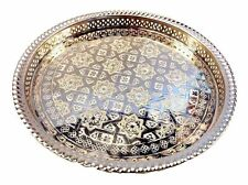 "Moroccan Tea Silver Tray Engraved Arabic Pattern Design 14.5"" Dia. Serving Tray"