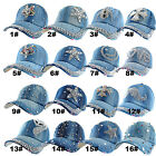 New Design Cotton Studded Bim Rhinestone Baseball Cap Hat Adjustable For Adult
