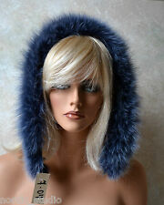 LAVENDER BLUE color  Genuine FOX FUR Strip Collar Scarf, Hood Trim, 7-04