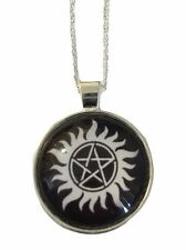 "Supernatural Anti-Possession Symbol Glass Dome Pendant Necklace with 20"" Chain"