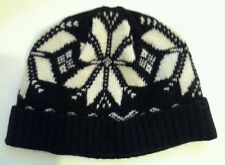 POLO RALPH LAUREN RUGBY BLACK/WHITE WOOL SNOWFLAKE WINTER HAT/BEANIE/CAP NWT
