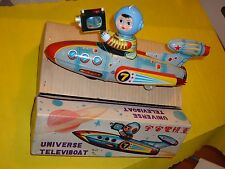 UNIVERSE TELEVIBOAT TIN VINTAGE SPACE TOY STARSHIP ROCKET DEAD STOCK MINT in BOX