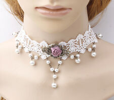 Sweet  White Ball Pearl Tassel Beads Droplet Charm Fabric Lace Collar Choker Nec