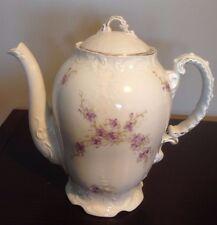Vintage Porcelain Coffee Tea Pot with Gold Trim & Purple Flowers