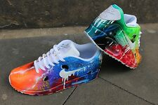 "Custom Nike Air Max 90 Blue Galaxy Sneaker Airbrush Graffiti ""White Drip"" Unikat"