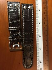 20mm Di-Modell Black Alligator-Grain Leather German Watch Band Strap