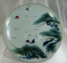 ANTIQUE JAPANESE HAND PAINTED  PORCLEAIN CRANE PLATE CHARGER
