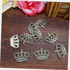NEW Charm 4pcs King Crown Tibet Silver Pendant Fit for Bracelet Necklace CJP06
