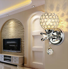 Modern Silver LED Wall Light Chrome Crystal Lamp Sconce Fixture Bedroom Hallway
