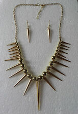 STUNNING LONG SPIKY SEXY PENDANT NECKLACE SET GOLD PLATED EARRINGS SPIKE