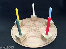 Handcrafted Wooden Ritual Altar Board with Pentagram & Elements Candles Holders