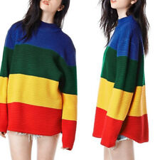 Womens Ladies Loose Pullover Stripe Sweater Rainbow Knitted Warm Blouse Top